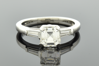 Classic Square Emerald Cut Diamond Engagement Ring