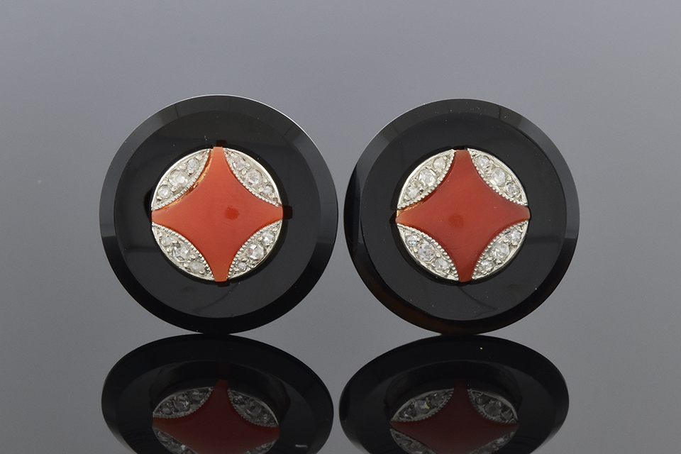 Item #1803 Edwardian Onyx and Coral Cufflink Conversion Earrings 1803
