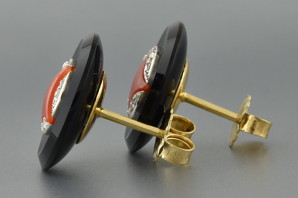 Edwardian Onyx and Coral Cufflink Conversion Earrings