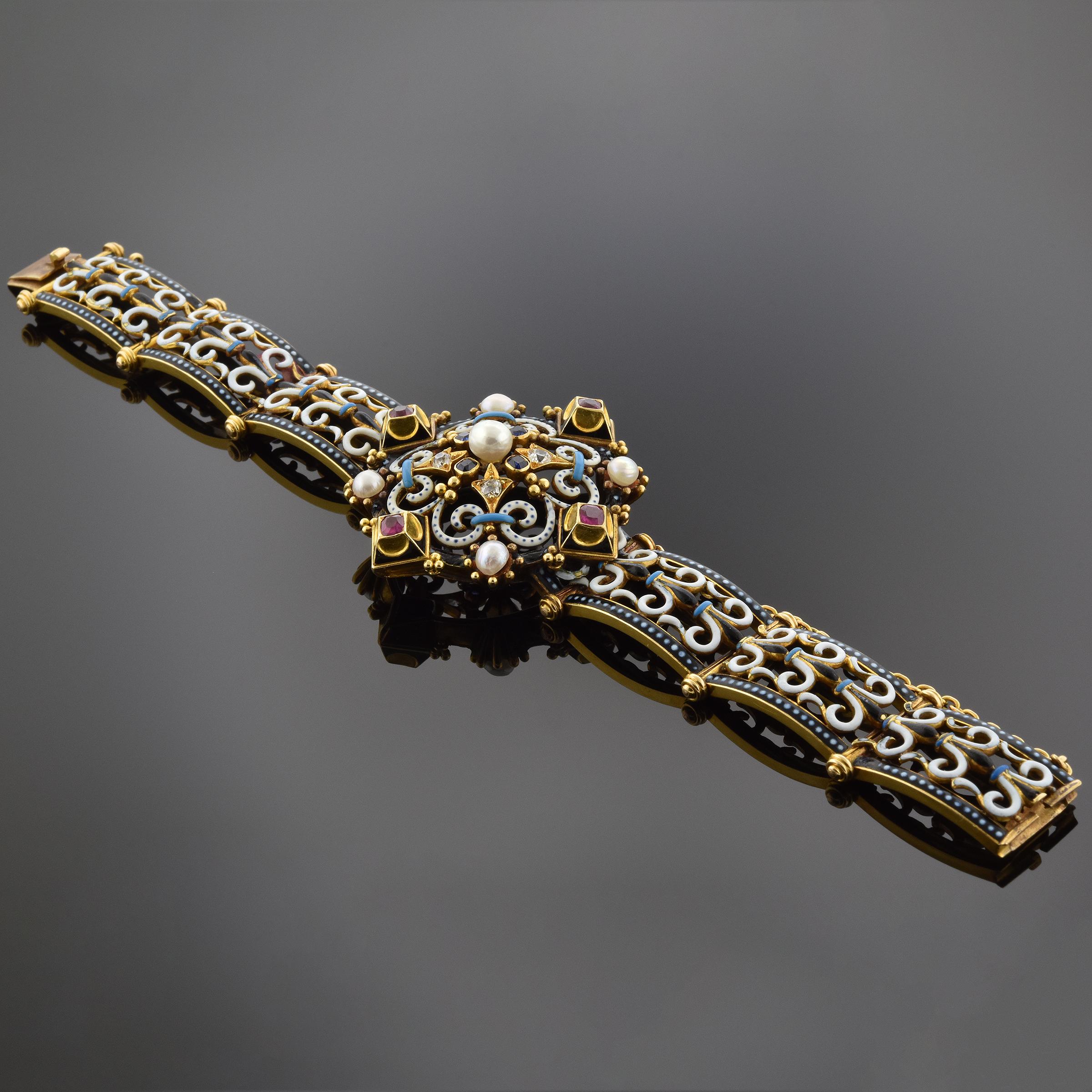 Item #6907 Multicolor Enamel Diamond Ruby Sapphire and Pearl Bracelet 6907
