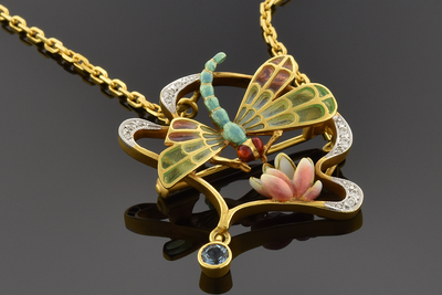 Plique-a-jour Masriera Dragonfly Brooch Necklace