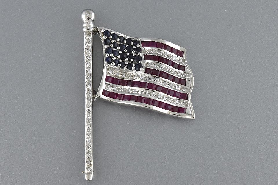 Ruby Diamond and Sapphire Flag Pin