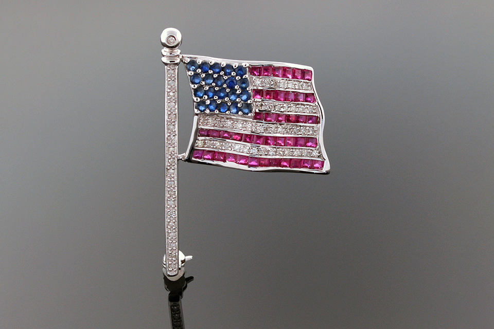 Item #2170 Ruby Diamond and Sapphire Flag Pin 2170