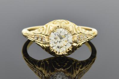 Item #5726 Art Nouveau Diamond Engagement Ring