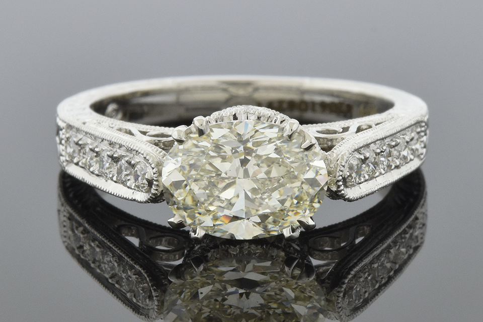Item #6838 East West Set 1.40 Carat Oval Diamond Engagement Ring