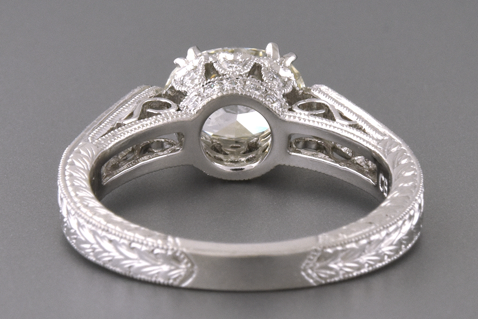 East West Set Oval Diamond Engagement Ring