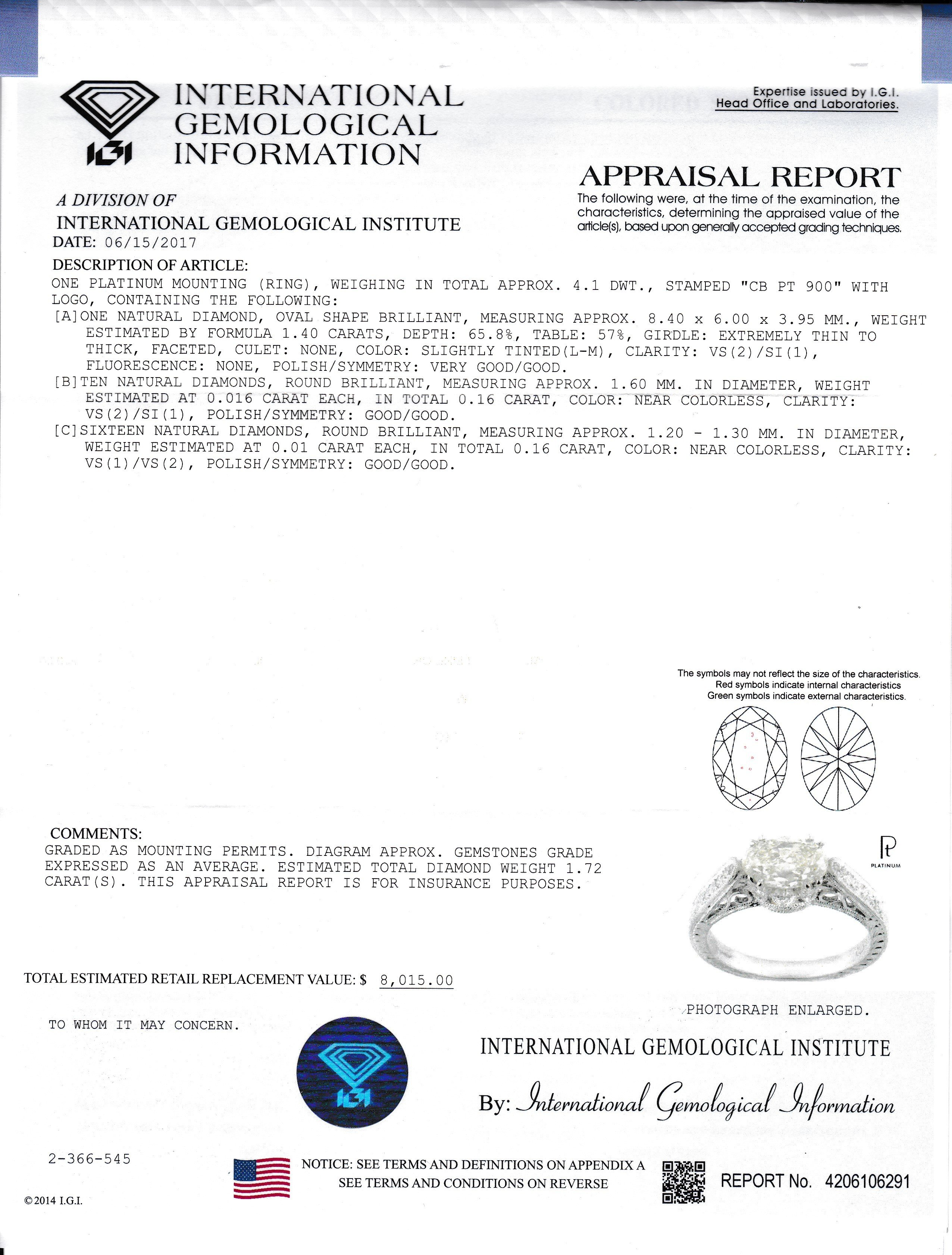 IGI oval diamond report