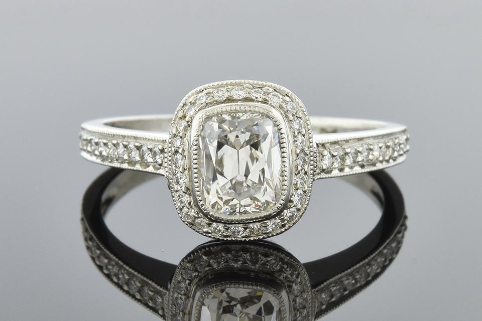 Item #5420 Bezel Set Cushion Diamond Ring 5420