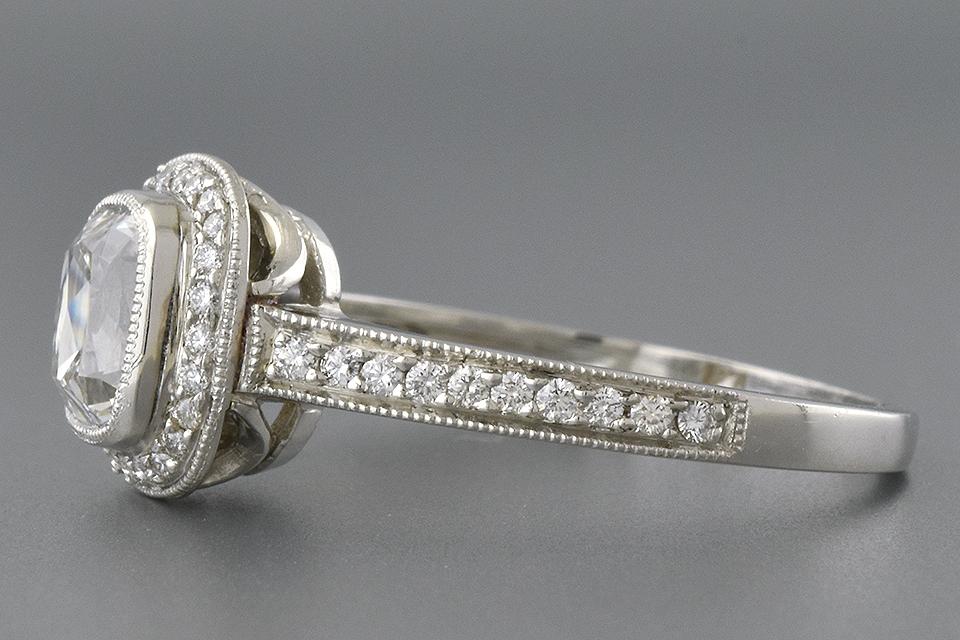 Bezel Set Cushion Cut Diamond Engagement Ring