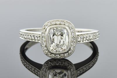 Item #5420 Bezel Set Cushion Diamond Ring