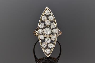 Item #6846 Long Diamond Set Navette Shape Ring
