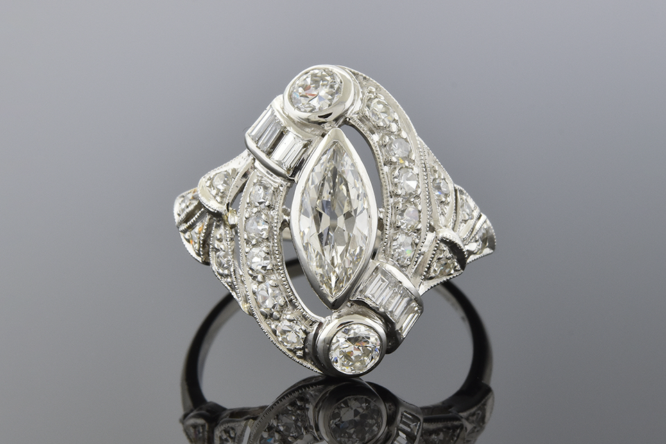 Art Deco Marquise Diamond Ring with Baguettes