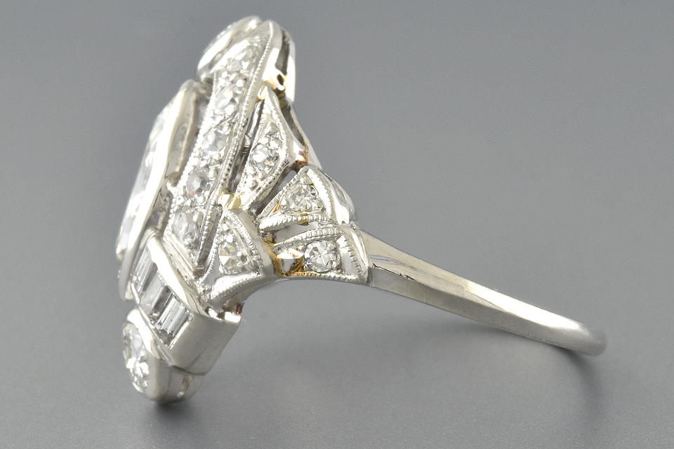 Art Deco Marquis Diamond Ring with Baguettes