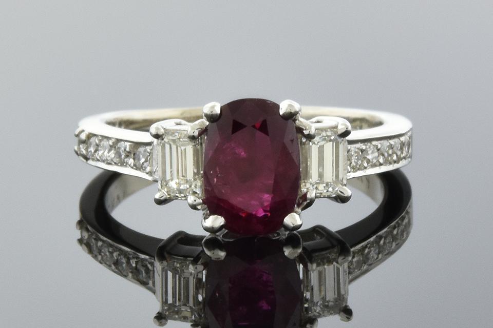 Item #6749 Ruby and Diamond Three Stone Ring with Diamond Details