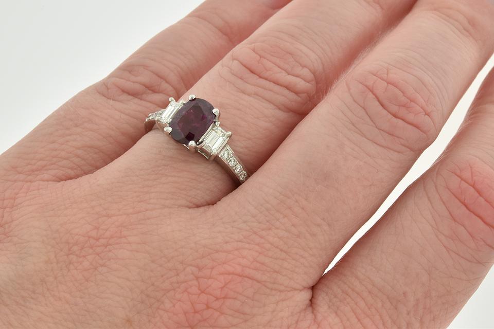 Ruby and Diamond Three Stone Ring with Diamond Details