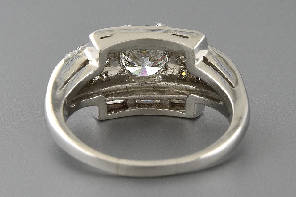 Item #4697 Baguette Framed Round Diamond Ring