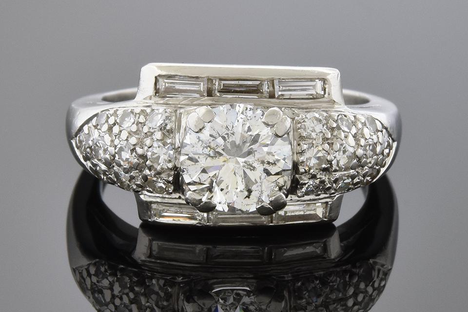 Item #4697 Baguette Framed Round Diamond Ring 4697