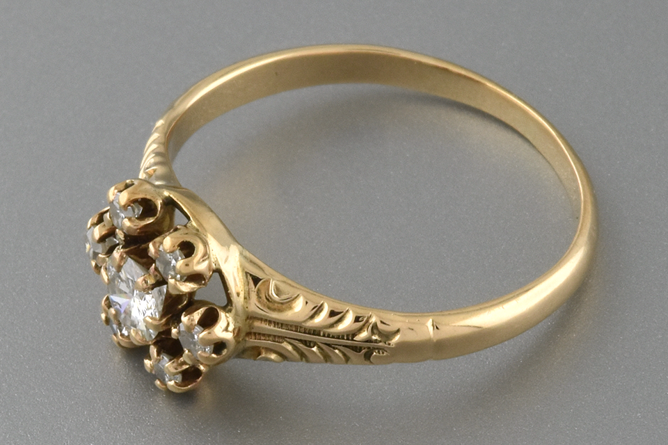 Carved Victorian Flower Ring with Diamonds