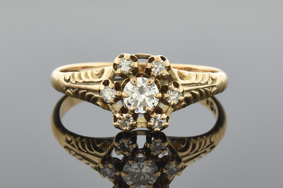 Item #1376 Carved Victorian Flower Ring with Diamonds 1376