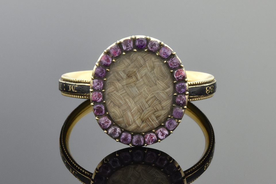 Item #4307 Hair Ring with Gemstone and Enamel 4307