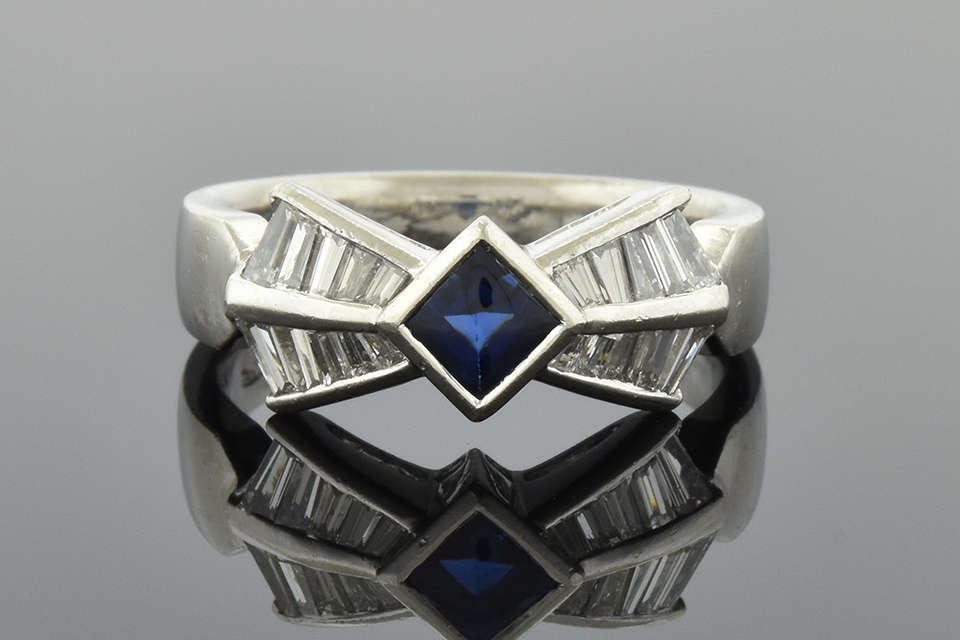 Bow Shaped Sapphire and Diamond Ring