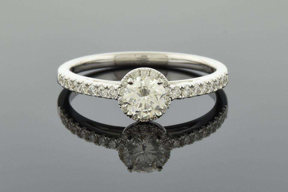 Item #2247 Understated Diamond Halo Engagement Ring