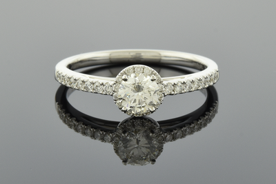 Understated Diamond Halo Engagement Ring