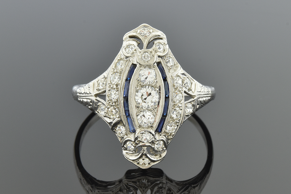 Item #7033 Navette Shaped Sapphire and Diamond Ring 7033