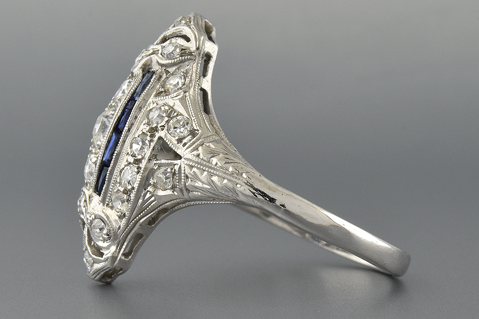 Navette Shaped Sapphire and Diamond Ring