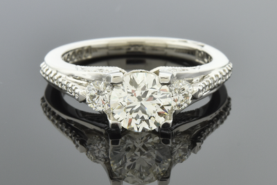 Three Stone Diamond Design Engagement Ring by Tacori