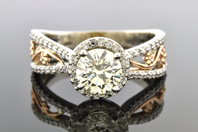 Item #7003 Diamond Halo Engagement Ring with Rose Gold Floral Details