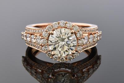 Item #6922 Rose Gold Diamond Halo Engagement Ring
