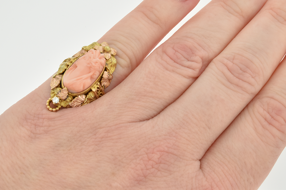 Tri Tone Gold Leaf Coral Cameo Ring