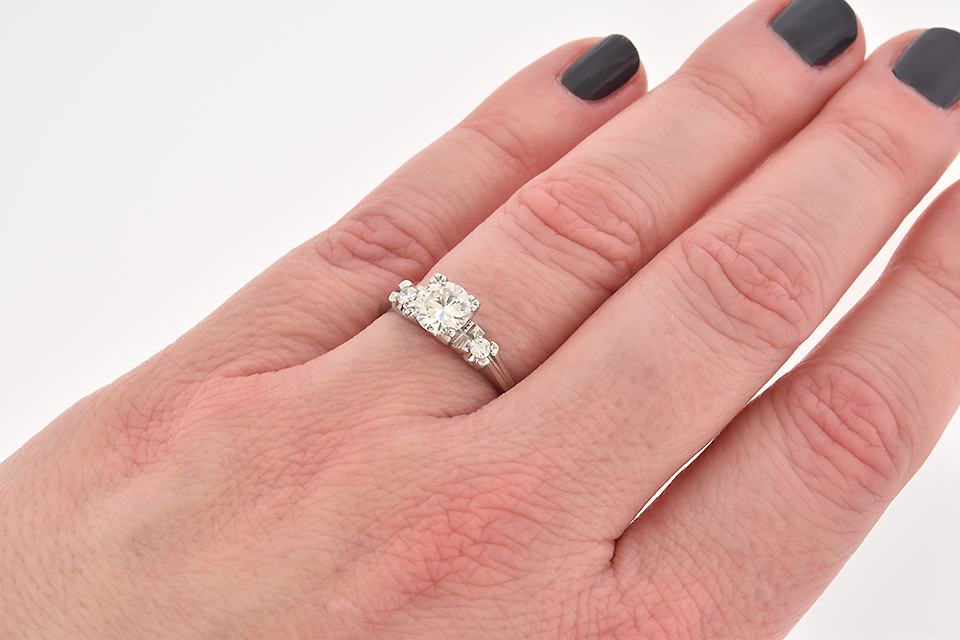 Simple Line Diamond Engagement Ring
