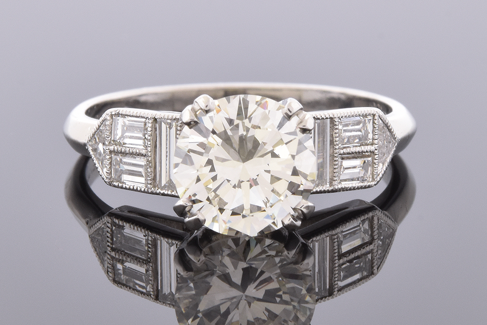Item #4782 Engagement Ring With Unusual Accent Diamonds 4782