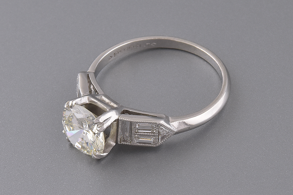 Engagement Ring With Unusual Accent Diamonds
