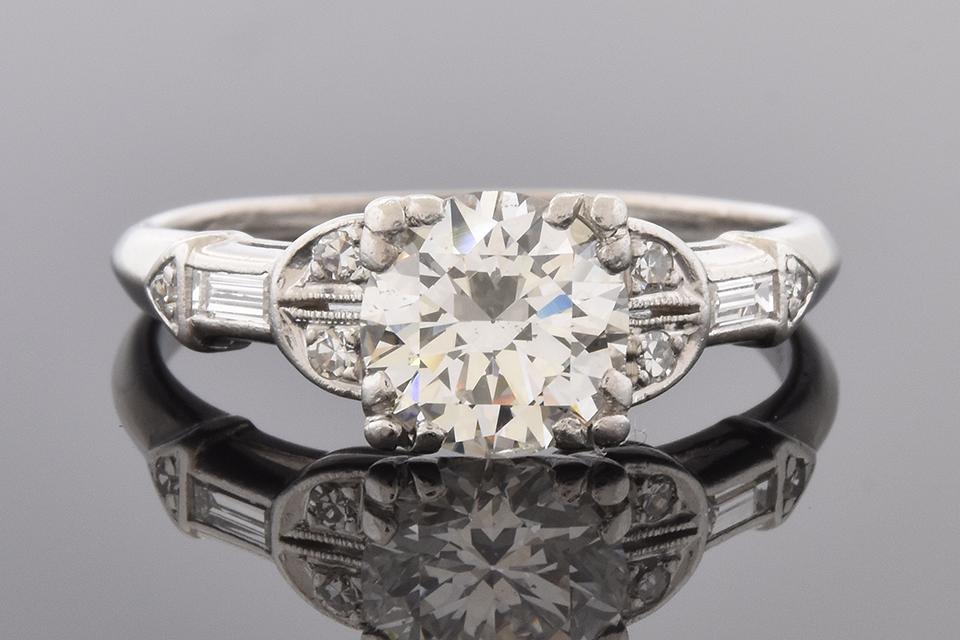 Item #7129 Art Deco Engagement Ring with Unique Diamond Details
