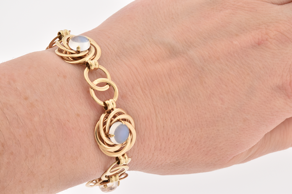 Moonstone Bracelet & Earring Suite by F&F Felger