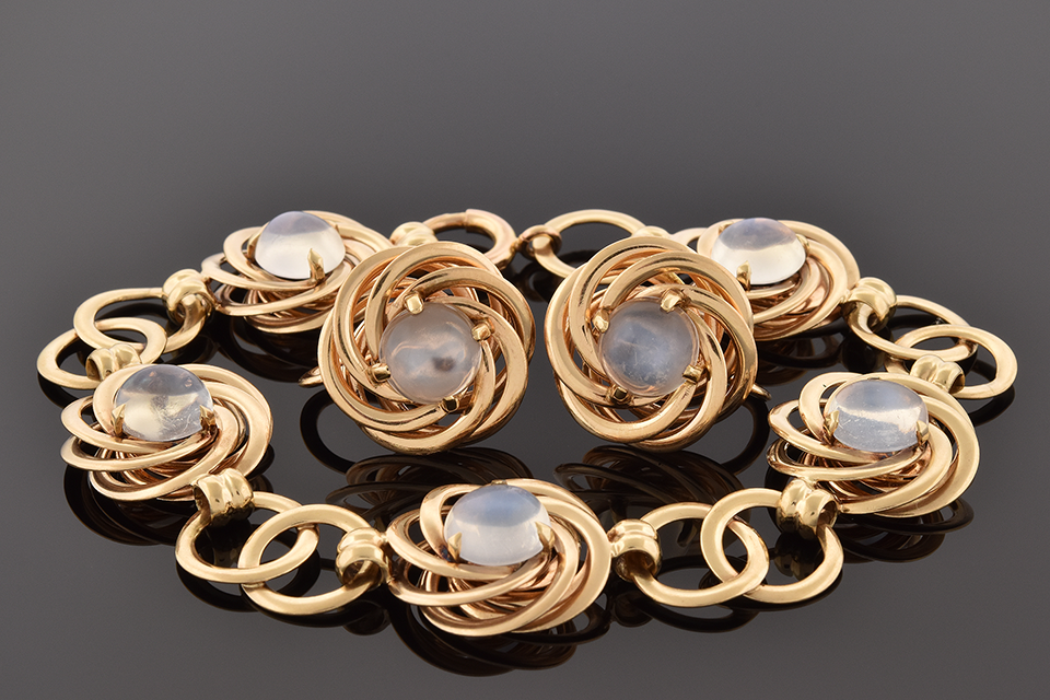 Item #4591 Moonstone Bracelet & Earring Suite by F&F Felger 4591