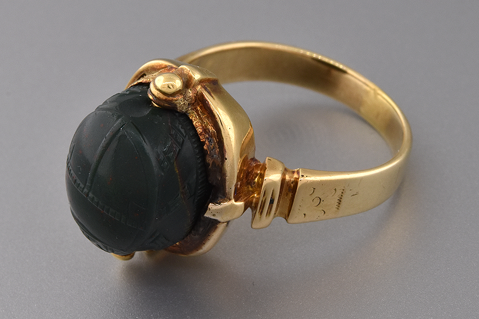 Item #1086 Egyptian Revival Carved Bloodstone Scarab Ring