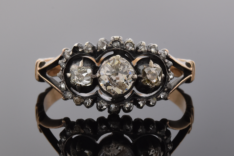 Item #5417 Mid-Victorian Three Stone Diamond Ring 5417