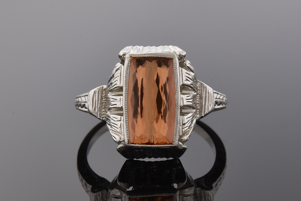 Item #1827 Art Deco Imperial Topaz Ring 1827