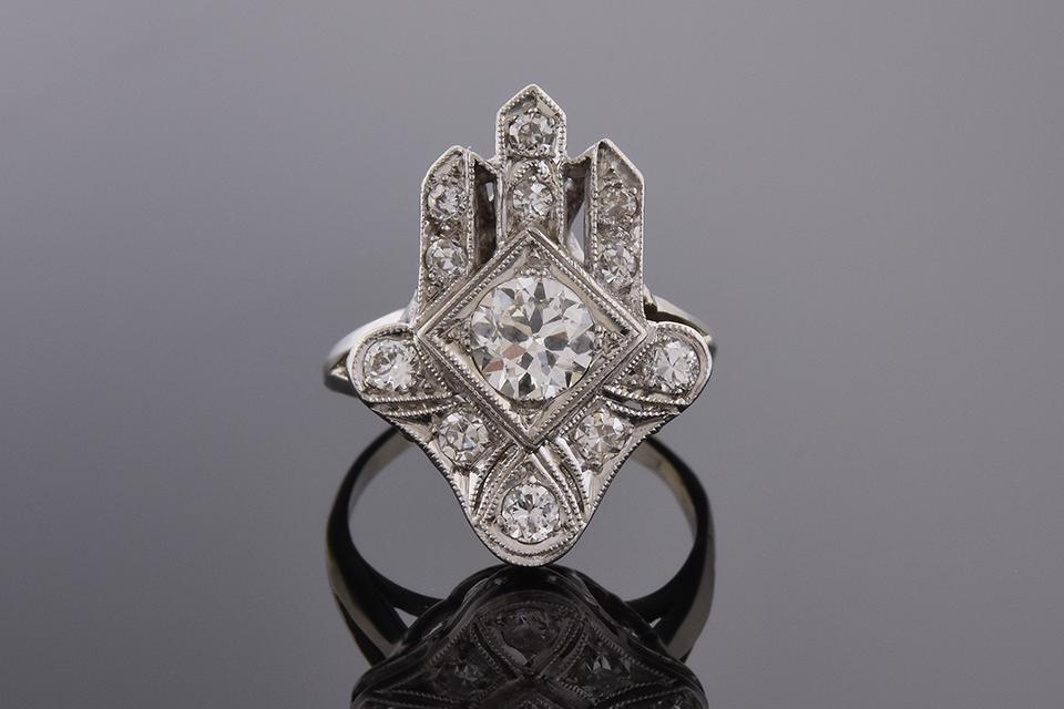 Item #6959 Unique Design Art Deco Diamond Ring 6959