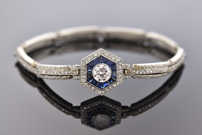 Art Deco Diamond and Sapphire Fitted Bracelet