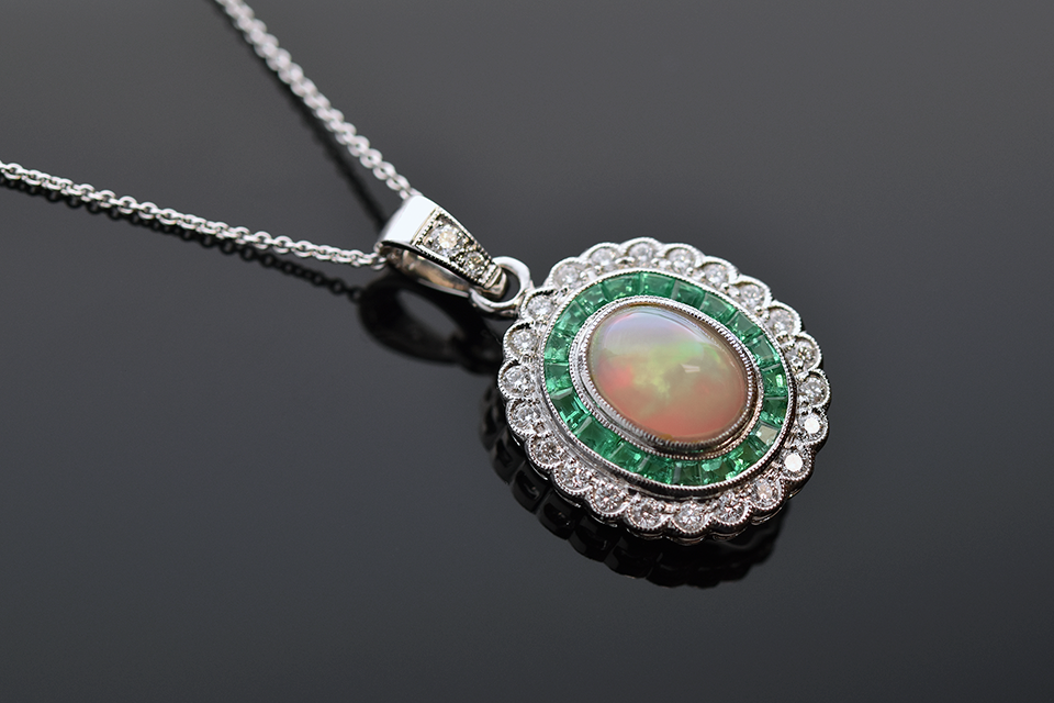 Item #7233 Vivid Opal Emerald and Diamond Necklace by Beverley K. 7233