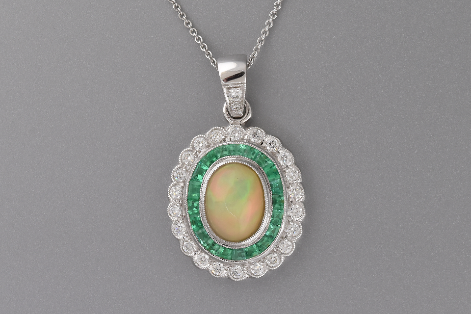 Vivid Opal Emerald and Diamond Necklace by Beverley K.