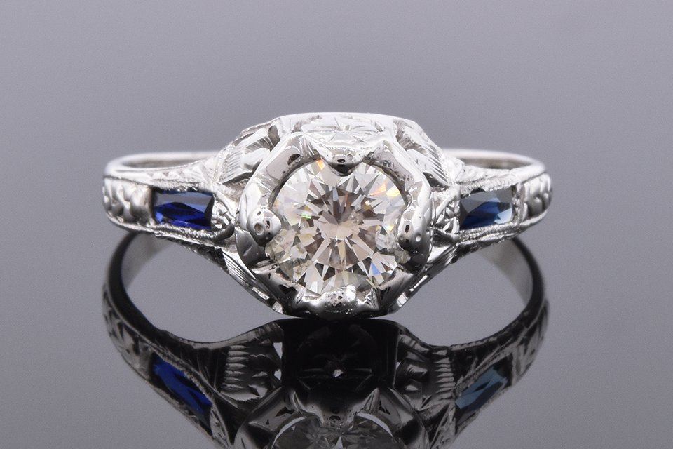 Item #4310 Art Deco Ring with French Cut Sapphires 4310