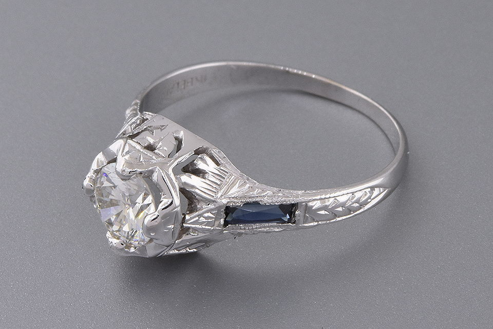 Art Deco Ring with French Cut Sapphires