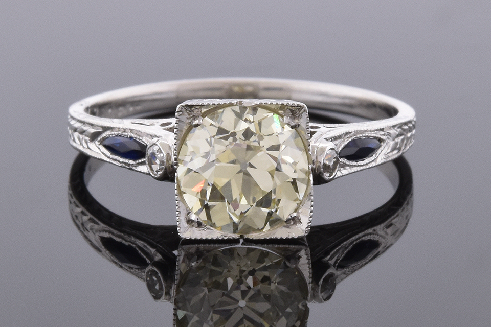 Item #4778 Art Deco Sapphire Trim Engagement Ring 4778