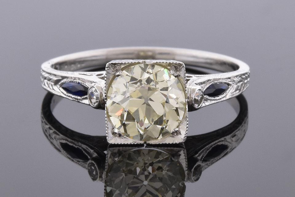 Item #4778 Art Deco Sapphire Trim Engagement Ring